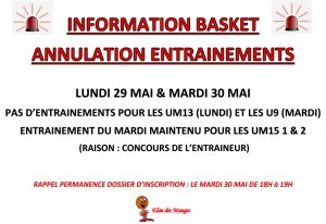 ATTENTION : annulation d'entrainements
